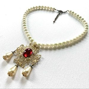 Filigree Tudor Style Faux Pearl Teardrop Necklace